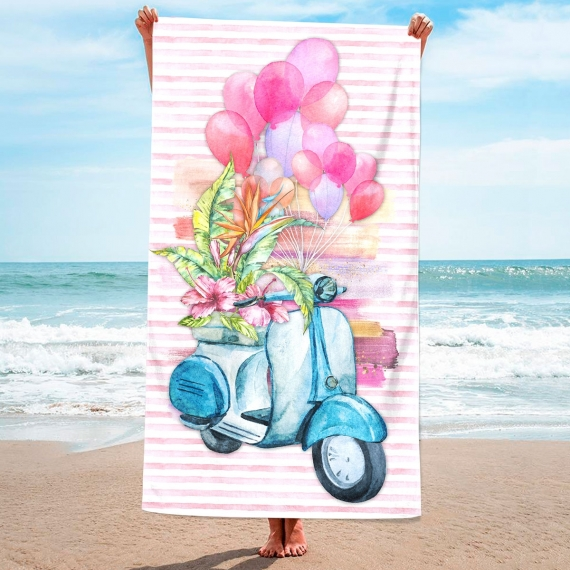 3D Pink Beach Towel